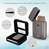 Electronic Lighter, Jinxi USB Charger Cigarette Lighter long battery life No Gas Flameless with USB Charging Cable Gift box Stylish Metal Cigarette Lighter Patent No .: ZL200810079826.6 201510444300.3