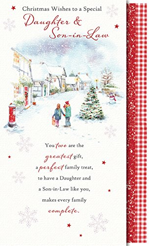 Words 'n' Wishes Daughter & Son-in-Law Christmas Card - Village 8.75 ...