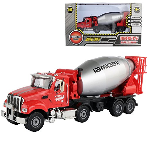 1/50 Scale Diecast Cement Mixer Truck Construction Toy Vehicle for Kids - Plastic Cement Mixer