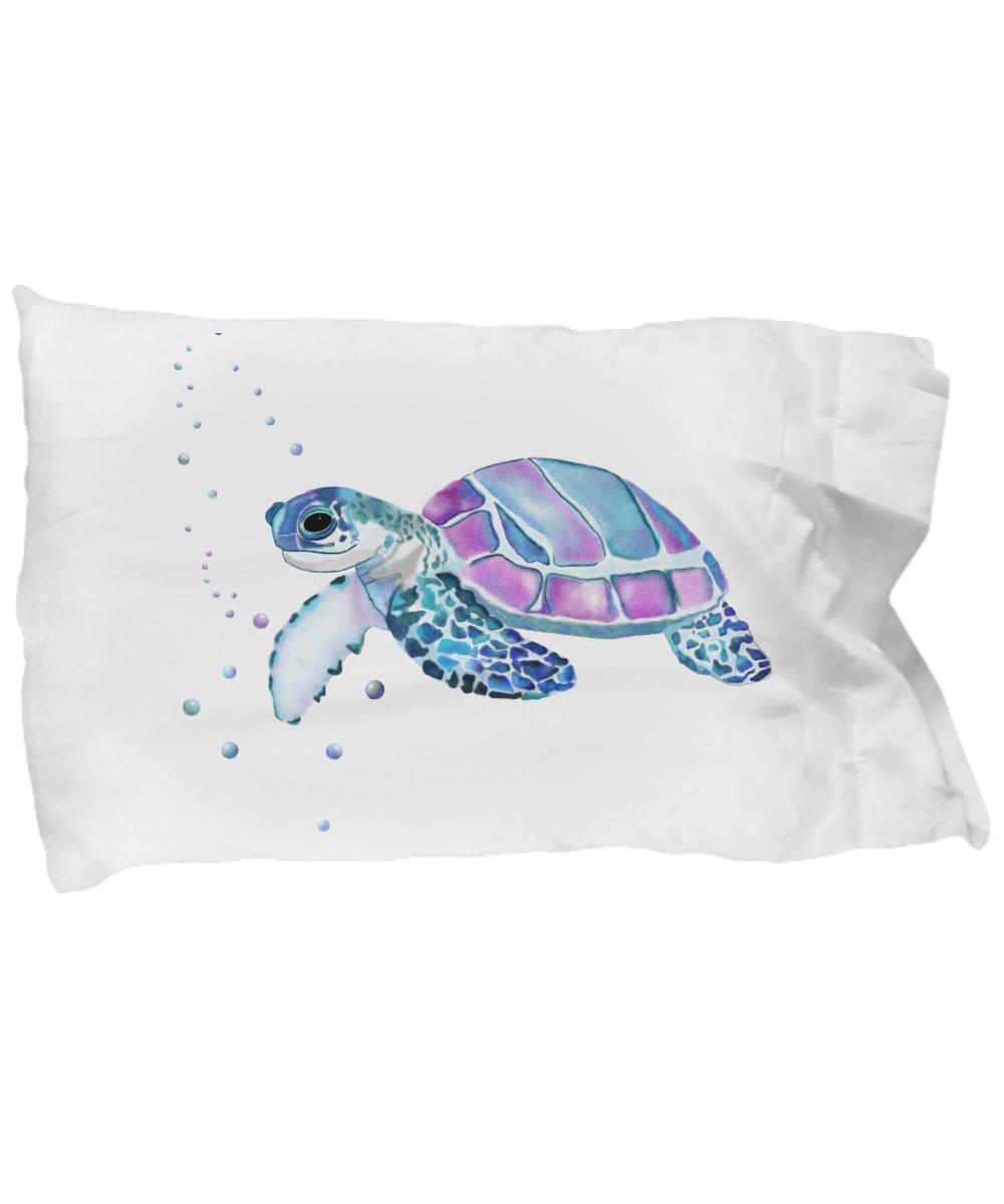 Sea Turtle Pillow - Cute Animal Lover Gifts - White Microfiber Pillowcase Bedding