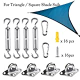 Yoodelife Shade Sail Hardware Kit for Triangle Square Shade Sails Heavy Duty Stainless Steel With 4Pcs Turnbuckle, 4xPad Eye, 2xSnap Hook, 16x Screw, 16x Plastic Expansion