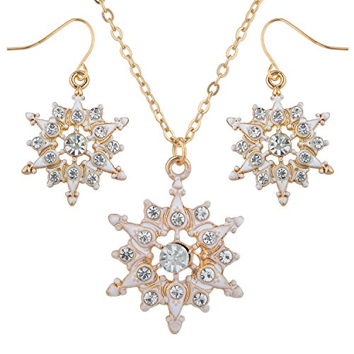(Lux Accessories Gold Tone White Snowflakes Crystal Rhinestones Pendant Necklace)