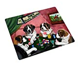 Home of Saint Bernard 4 Dogs Playing Poker Large Tempered Cutting Board 15.74'' x 11.8'' x 5/32''