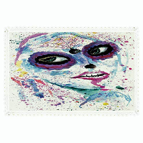 iPrint Girls,Rectangle Polyester Linen Tablecloth/Grunge Halloween Lady with Sugar Skull Make Up Creepy Dead Face Gothic Woman Artsy/for Dinner Kitchen Home Décor,60