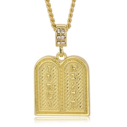 L2JK 14K Gold Plated Plain 10 Commandments Pendants w/ 3mm Cuban Chain (24