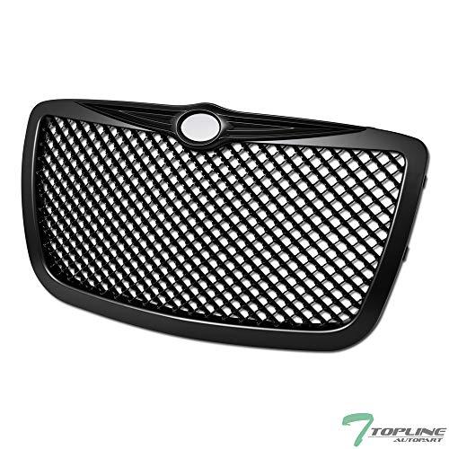 (Topline Autopart Matte Black Mesh Front Hood Bumper Grill Grille ABS For 04/05-10 Chrysler 300 / 300C / 300 Touring/Limited/SRT-8)