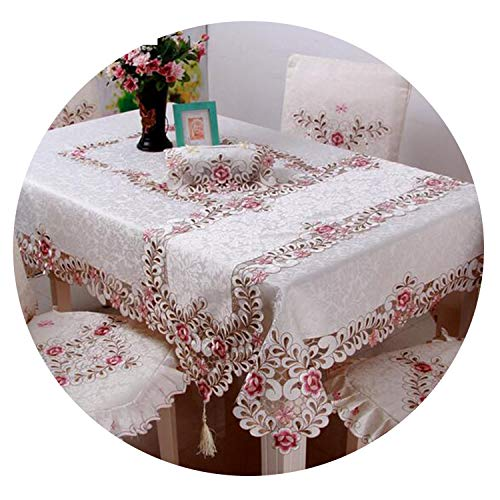 Be fearless Embroidered Floral Lace Tablecloth Europe Style Edge Dustproof Table Cloth for Wedding Home Party Table -