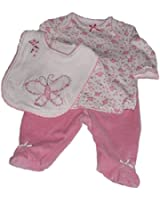 Little Me Baby-girls Dainty Velour Butterfly 3 Piece Set