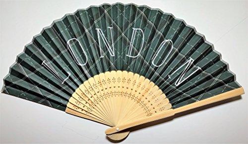 Daiso Japanese Folding Fan (Sensu): Handheld fan: LONDON paintings black and green background LONDON logo