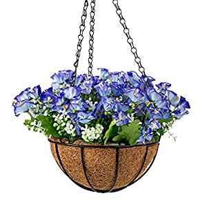 IBEUTES 7.8 inch Blue Morning Glory Silk Hanging Baskets, Artificial Hanging Silk Flowers with Chain Flowerpot for Home Outdoor Decoration 95