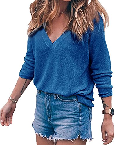 StyleDome Women's Thin Knit Pullover V-Neck Blouse Loose Sweatshirt Top Blue (Adorable Sweatshirts)