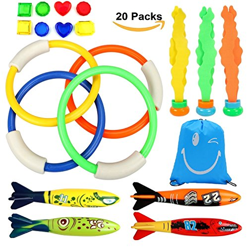 Diving Toys Underwater Swimming Diving Pool Toy Dive Set With Diving Rings  Torpedo  8Pcs Treasures Gift  Waterproof Storage Bag  Dive Training Gift For Kids Diving
