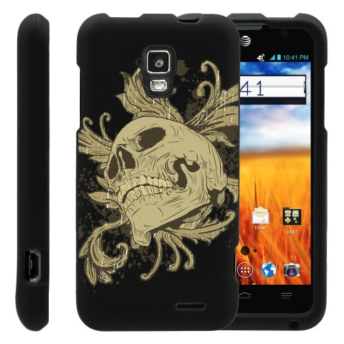 MINITURTLE, Slim Fit Graphic Design Image 2 Piece Snap On Protector Hard Phone Case Cover, Stylus Pen, and Clear Screen Protector Film for AT&T Prepaid GoPhone Android Smartphone ZTE Mustang Z998 (Skull and Leaves)