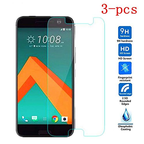 [3-Pack] -For Glass HTC 10 (One M10,One 10,M10)[2016]Tempered Glass For Screen Protector HTC 10 Glass [HD 0.26MM 9H 2.5D] For HTC Desire 10 Protective Film For HTC M10 Youthsay (Best Tempered Glass Screen Protector For Htc 10)