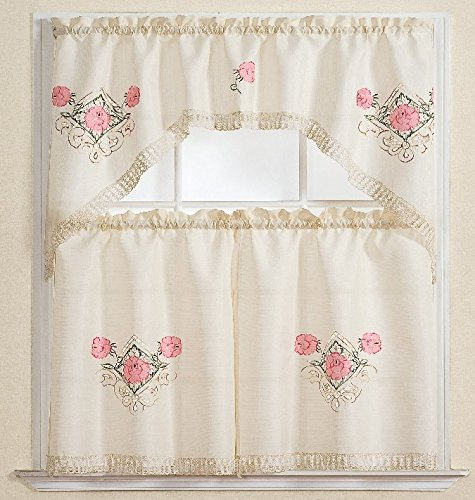 3pc Beige with Embroider Pink Flower Kitchen/cafe Curtain Ti