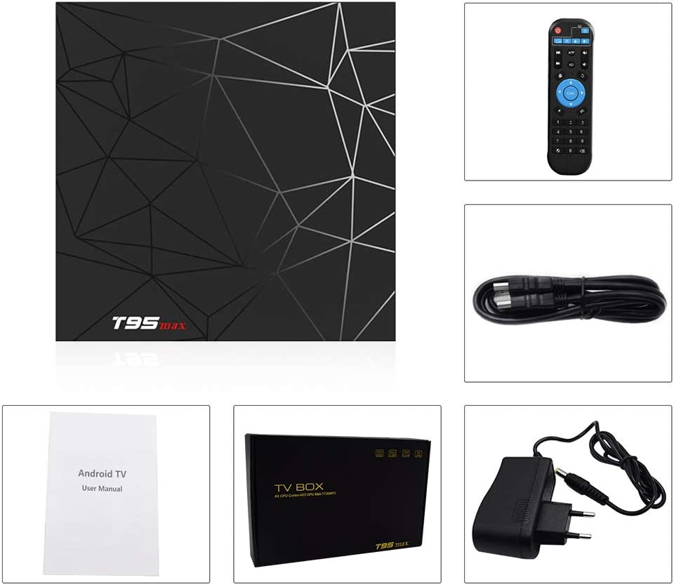 Android TV Box,T95 MAX Android 9.0 TV Box 2GB RAM//16GB ROM H6 Quad-Core Support 2.4Ghz WiFi 6K HDMI DLNA 3D Smart TV Box