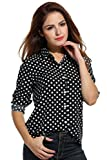 Zeagoo Women's Long Sleeve Casual Polka Dot Button Up Office Blouse Shirt Top Black Large