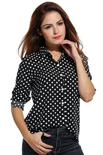 Mujer Camisas Para Mujer Negro Meaneor Camisas Meaneor Para 54dwqU5