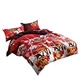 YOUSA Christmas Duvet Cover Set Christmas Gift Reindeer Quilt Cover (Queen,3Pcs)