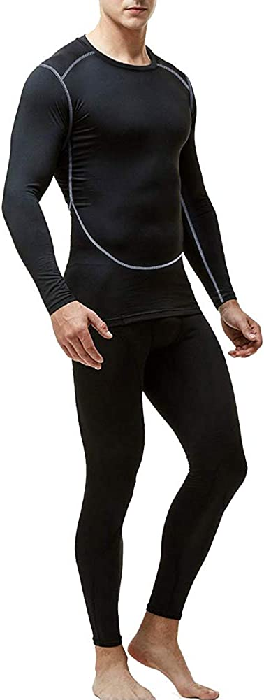 Men's Thermal Underwear Set, Base Layers Winter Gear Compression Long Johns with Fleece Lined for Skiing
