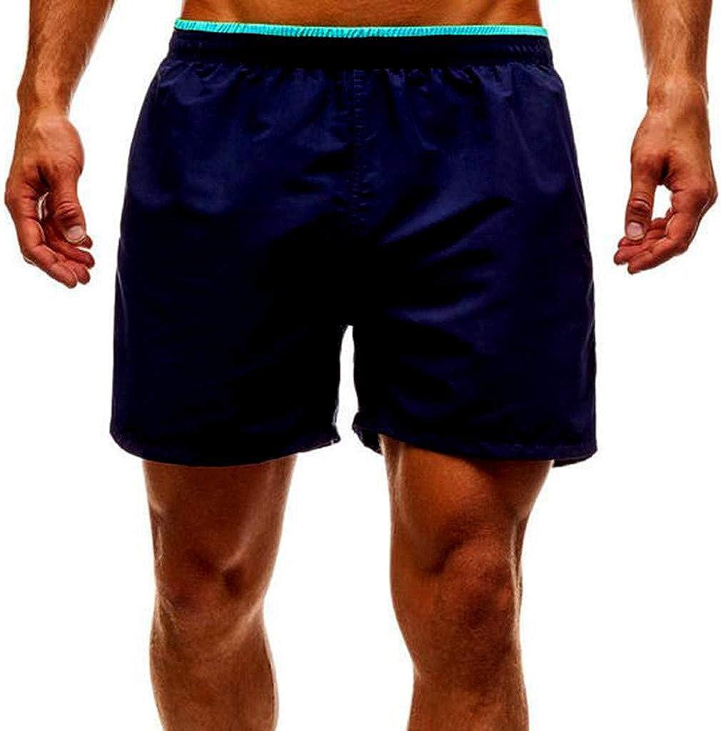 Molyveva Good Friend Gift,Mens Stitching Striped Casual Shorts Beach Pants