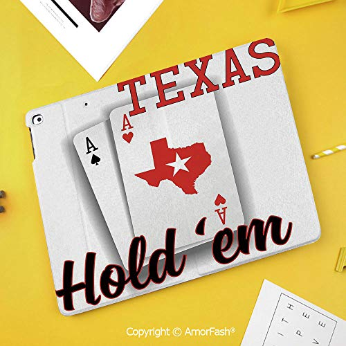 Case for SamsungGalaxy Tab S4 2018 10.5 T830 T835 SM-T835 Protective,Poker Tournament Decorations,Texas Holdem Theme Pair of Aces with Map Winning Hand Decorative,Red Black White