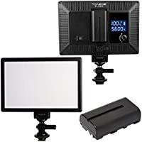 TOAZOE T119S Ultra-thin Photography Fill Light 3300K-5600K CRI95+ LED Video Light with 2200MAH NP-F550 Lithium battery for Canon Nikon Sony Panasonic DSLR Camera and More