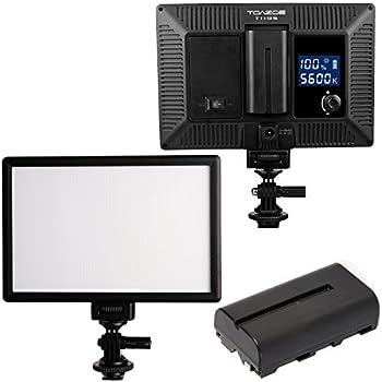 TOAZOE T119S Ultra-thin Photography Fill Light 3300K-5600K CRI95+ LED Video Light with 2200MAH NP-F550 Lithium battery for Canon Nikon Sony Panasonic DSLR Camera and More
