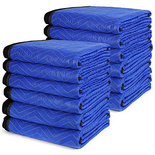 """12 Moving Blankets 72"""" x 80"""" - TUSY Pro Packing Blanket 35lb, Ultra Thick Professional Quality Shipping Furniture Pads"""