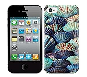 HD Colorful Painted Watercolor Shells Of Marine Blue Classic Hard Phone Case For Iphone 4/4S