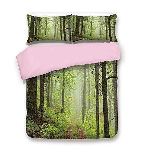 Pink Duvet Cover Set,King Size,Trail Trough Foggy Alders Beeches Oaks Coniferous Grove Hiking Theme,Decorative 3 Piece Bedding Set with 2 Pillow Sham,Best Gift For Girls Women,Light Green Light Yellow