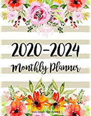 2020-2024 5 year planner: Monthly Schedule Organizer Planner For To Do List Academic Schedule Agenda Logbook Or Student Teacher Organizer Journal Notebook Business Appointment W/ Holidays | Flowers WaterColor