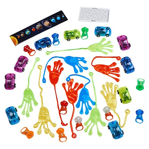 Birthday Party Favors Toy Kit 30 pcs - Happy Birthday Party Favors, Kids Toys, LED Light Up Toys, Sticky Hands, Pull Back Race Cars (Toys Pull Pinata)