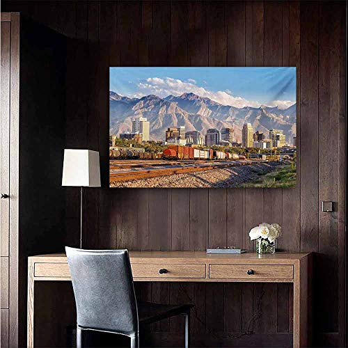 - duommhome Landscape Simulation Oil Painting Downtown Salt Lake City Skyline in Utah USA Railroads Mountains Buildings Urban Decorative Painted Sofa Background Wall 20