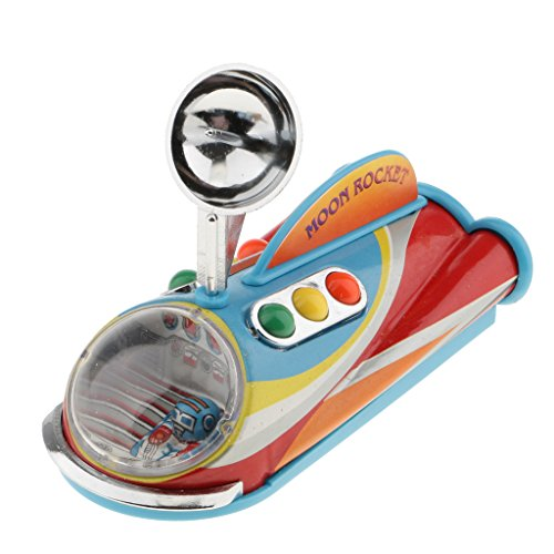 MagiDeal Retro Mechanical Moon Rocket Model Wind-up Clockwork Tin Toy Collectibles (Model Vintage Toy Tin)