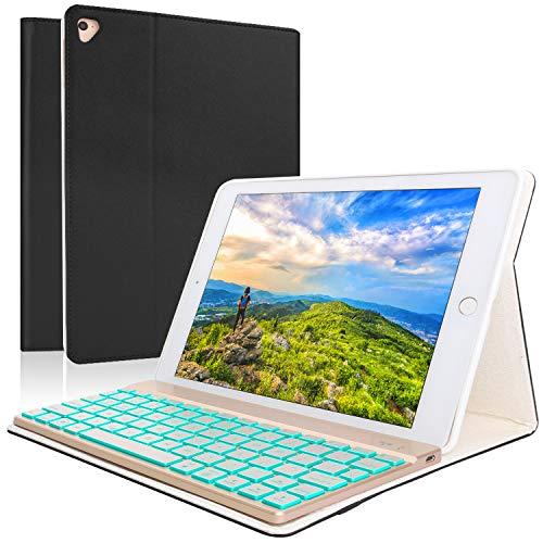 Keyboard Case iPad 9.7 2018 (6th Gen) - iPad 9.7 2017(5th Gen) - iPad Air 2&1 - iPad Pro 9.7-7 Colors Backlit Detachable Keyboard - PU Leather Stand - iPad Keyboard Case, (Black, 9,7)