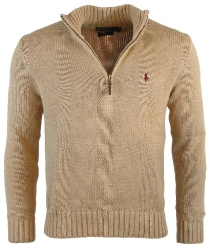 UPC 638876743839, Polo Ralph Lauren Mens Half Zip Mock Neck Cotton Sweater - S - Camel
