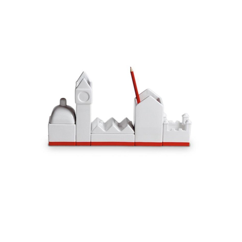 Seletti Vorratsdose 33 x 16,5 cm Große Porzellan desktructure-the City Schreibtisch Organizer Set, weiß