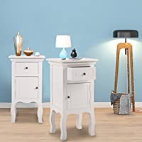 JAXPETY Set of 2 New White Curved Legs Accent Side End Table Nigh stand Furniture Bedroom W/Drawer and Door (2)