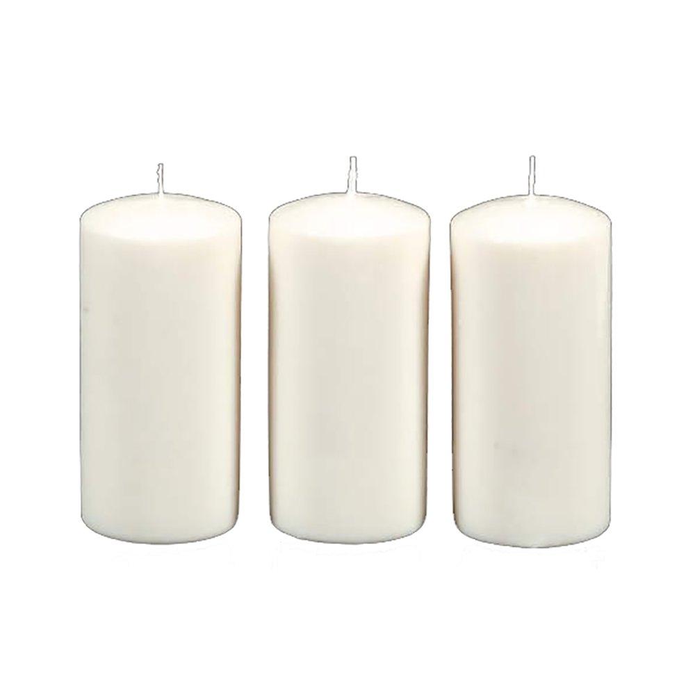 ArtVerse Unscented ((3 Pieces) Pillar Candle, White