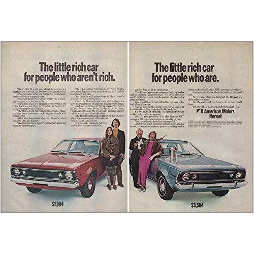 RelicPaper 1970 American Motors Hornet: Little Rich Car, Blue Red, American Motors Print Ad
