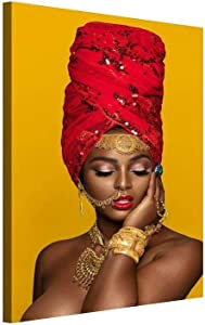 """Abstract Gold Crown Wall Art Black African Woman American Decor Canvas Designed Pop Gold Earrings Necklace Black Girl Style Painting on Canvas Poster Print Frame (12"""" x 18"""", Artwork - 08)"""
