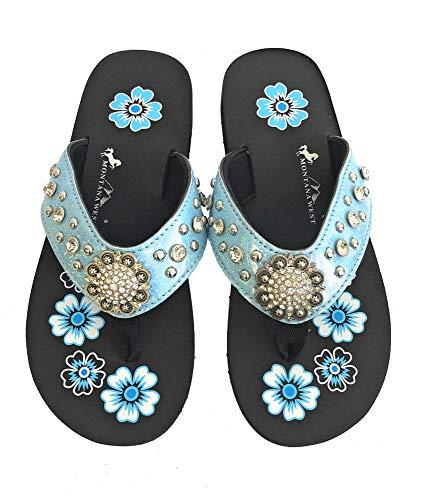 Montana West Flip Flops Sandal Shiny Straps Crystals Floral Concho Blue 10