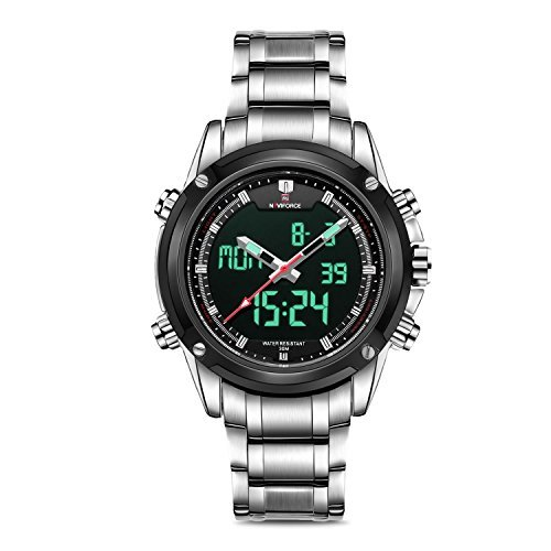 - Business Mens Analog Digital Watch, Quartz Dual Time Zone Electronic Watches Waterproof Heavy Wristwatch with Alarm Stopwatch
