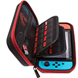 ButterFox Carrying Case for Nintendo Switch,18 Game Cartridge Holders, Large Accessories Pouch - Red/Black (Red/Black)