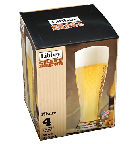 Libbey Craft Brews Pilsner 16-ounce Clear Pilsner Glass Set, 4-piece ()