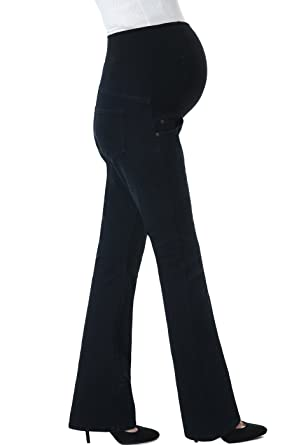 7ee980da2127e Momo Maternity Womens Stetchy Full Panel Modern Boot Cut Denim Jeans,Black  Blue,25