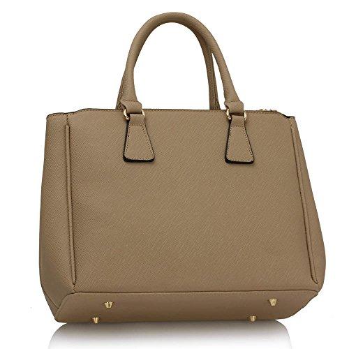 ANNA GRACE - Bolso de tela de piel sintética para mujer marrón