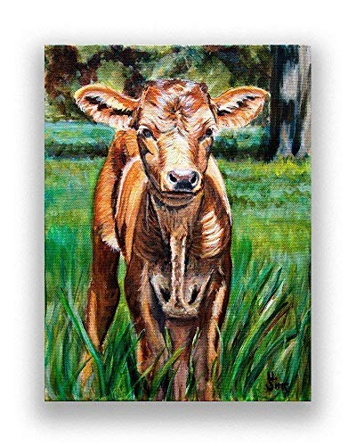 Baby Cow Art Print from Texas Longhorn Painting for your Rustic Farmhouse Decor, size matted option