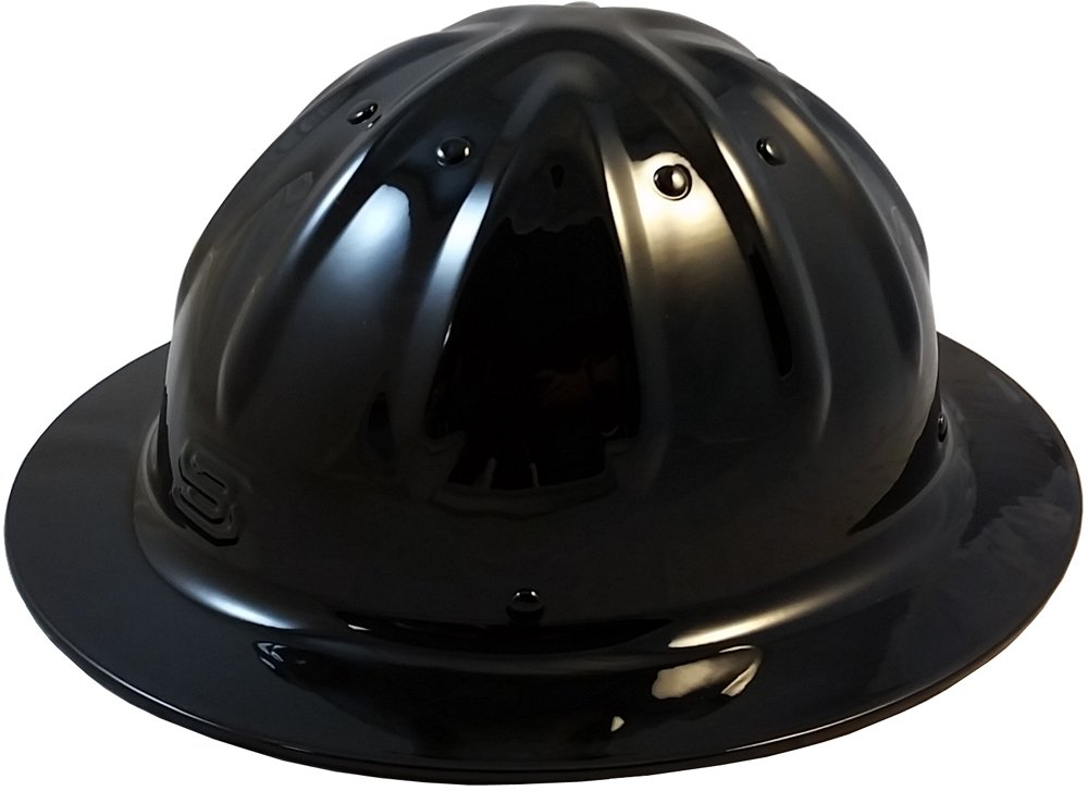 Original SkullBucket Aluminum Hard Hats, Full Brim with Ratchet Suspensions Black
